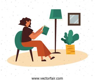 Woman on chair reading a book at home vector design