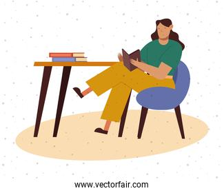 Woman at desk reading a book at home vector design