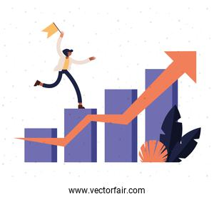 woman cartoon with flag on infographic bars chart with increase arrow vector design