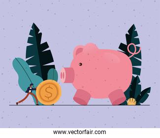 Businessman with coin and piggy vector design