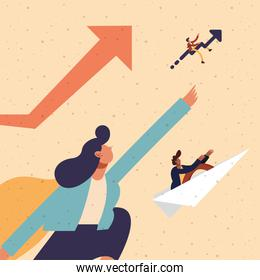Businesswoman and businesspeople with paperplane and increase arrow vector design