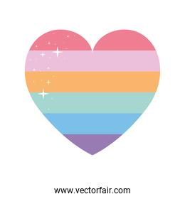 lgbtq pride heart on a white background