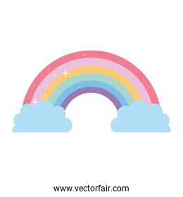 rainbow with two clouds on a white background