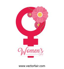 womens day design with female gender symbol with decorative flowers, colorful design