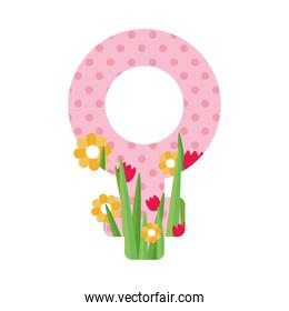 female gender symbol with beautiful flowers around, colorful design