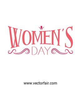 Lettering design of womens day with decorative swirls, colorful design