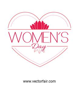 heart and flower with womens day lettering design