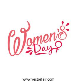 pink lettering design of womens day, colorful design