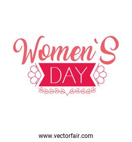 womens day lettering design with decorative ribbon, colorful design