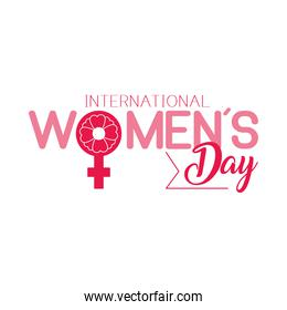 lettering international womens day design with decorative female gender symbol, colorful design