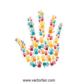 hand human stop with hands colors pattern