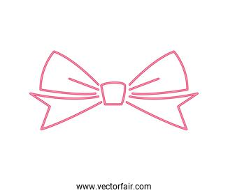 happy merry christmas red bow ribbon line style icon