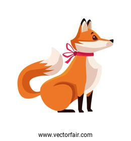 cute fox with bow red character