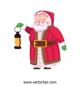 cute santa claus with kerosene lamp character
