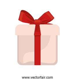happy merry christmas white gift and red bow ribbon