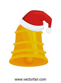 happy merry christmas golden bell and santa hat
