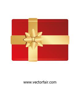 happy merry christmas red gift and golden bow ribbon