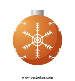 happy merry christmas ball hanging with snowflake decorative icon