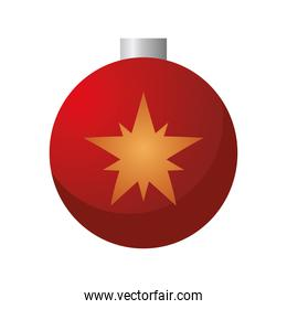 happy merry christmas red ball with golden star hanging
