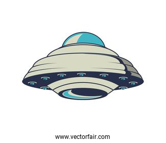 ufo space flying retro style icon