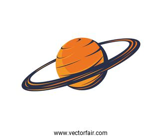 saturn planet space isolated icon