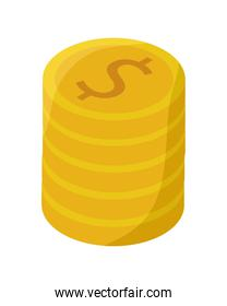 pile coins money dollars financial icons