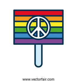 banner with lgtbi flag and peace symbol flat style icon