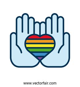 hands lifting heart with lgtbi flag flat style icon