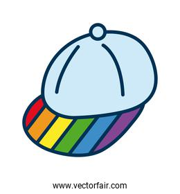 sport cap with lgtbi flag flat style icon