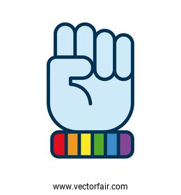 hand fist with lgtbi flag flat style icon