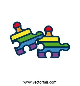 puzzle pieces with lgtbi flag flat style icon