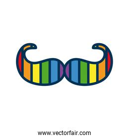mustache with lgtbi flag flat style icon