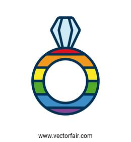 ring married with lgtbi flag flat style icon