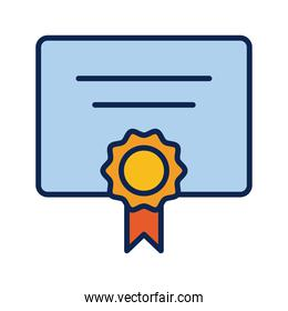 diploma document with medal flat style icon