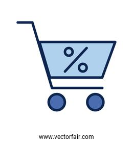 shopping cart with percent symbol flat style icon