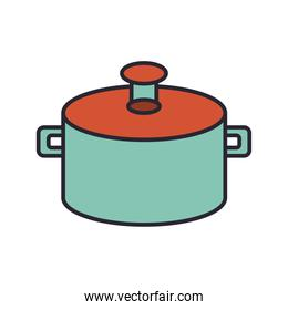 pot kitchen utensil line and colors style icon
