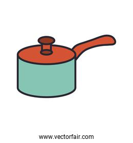 pot kitchen with handle utensil line and colors style icon