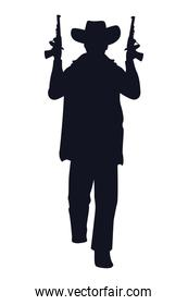 cowboy figure silhouette with guns character