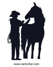 cowboy figure silhouette with horse character