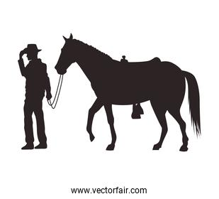 cowboy figure silhouette with horse