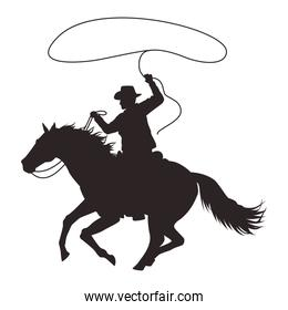cowboy figure silhouette in horse lassoing