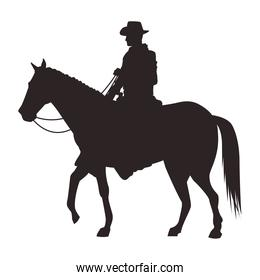 cowboy figure silhouette in horse