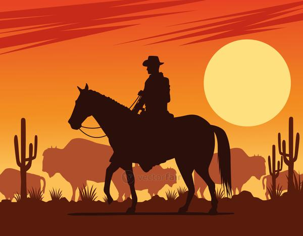 cowboy figure silhouette in horse with cows desert scene