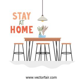 stay at home lettering with table,chairs, plants, lamp decoration