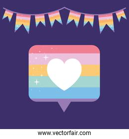 message bubble with pride lgbtq color, one heart in the middle of it and one garland on a purple background