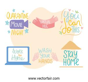 inspirational and covid letterings designs icon set