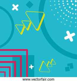 turquoise background with geometric and abstract shapes, colorful design
