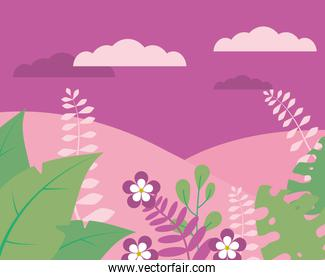 purple mountains landscape with flowers and leaves, colorful design