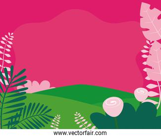 pink landscape with mountains, flowers and leaves, colorful design, colorful design