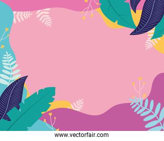 colorful frame of tropical leaves over pink background